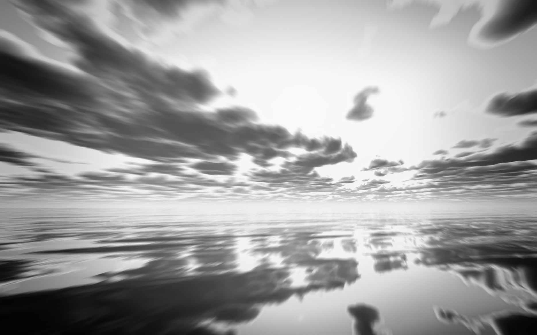 3D render of an abstract black and white sunset over the ocean